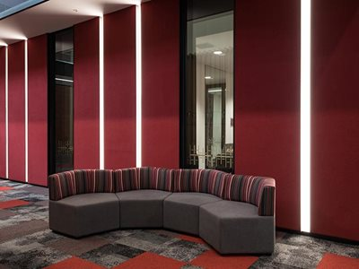 Autex decorative wall fabric Composition in commercial interior