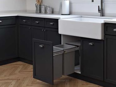 Hideaway's Compact Cinder bin range now makes it possible to achieve a totally harmonised look across the whole kitchen