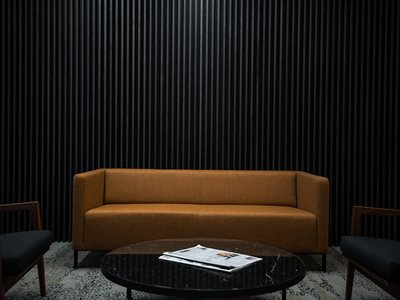 Living room interior with wall acoustic slats