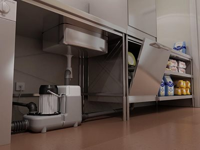 Saniflo Sanicom grey water lifting station under sink