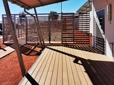 Outdoor decking with wood composite board