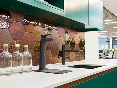 Office kitchen interior with filtered water tap