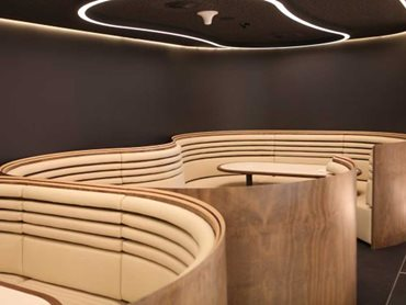 Getting the soft leather to sit taut to the curved forms of the seating was the most challenging aspect of the joinery