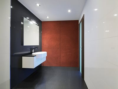 Altro Whiterock Bathroom with Copper Wall Sheets