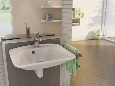 adjustable wash basin open plan bathroom