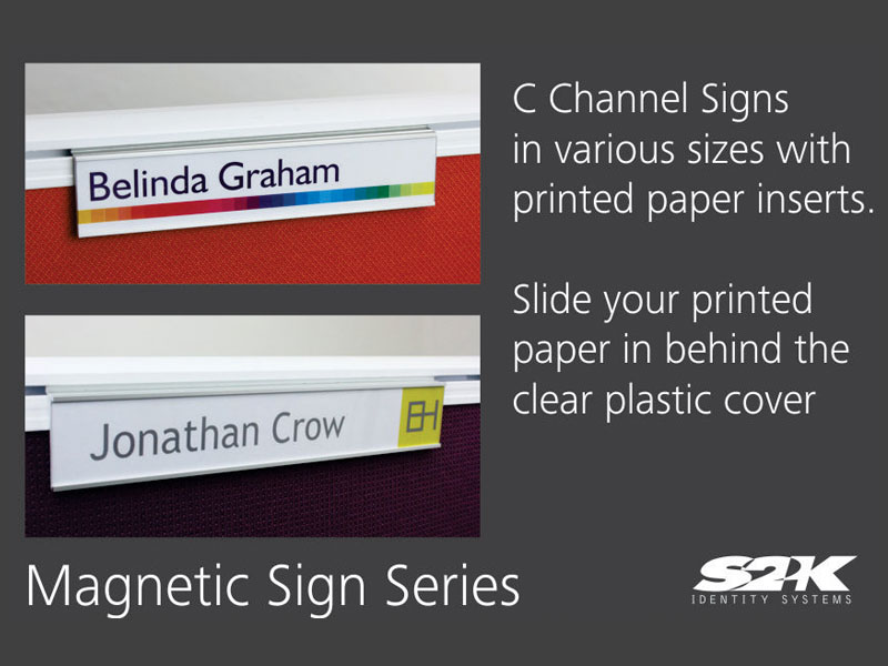 Workstation Sign Series – Modular, Updateable sign system by S2K Identity Systems
