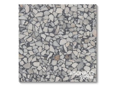 Detail of a sample of Fibonacci Stone Storm Terrazzo at 100x100mm