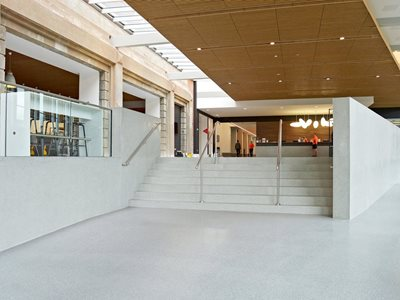 Interior of shopping centre with resin flooring