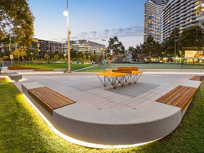 concrete platform built in benches shadow gap lighting