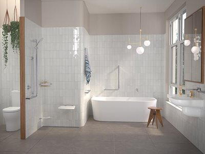 caroma opal collection independent living solution in bathroom interior