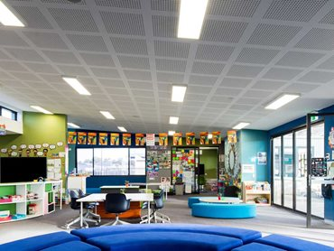 One of the modular learning spaces featuring Gyptone perforated plasterboard