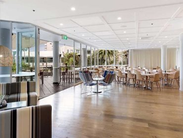 Plank Floors' engineered timber flooring is featured throughout the foyer, restaurant and public spaces