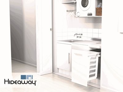 Hideaway Bins Hidden storage solutions for laundries