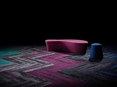 Signature floors textured directional carpet planks in purple blue and gray