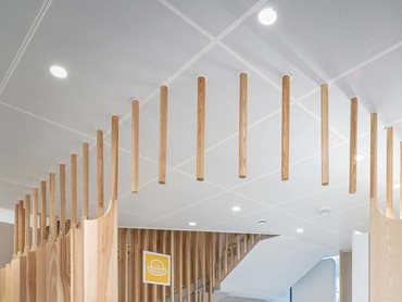 The ceiling panels are powder-coated in white and lined with fleece to improve acoustics © Nate Cook Photography