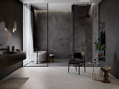 RocksOn Lithos Carbon Neutral Porcelain Stoneware Bathroom Interior