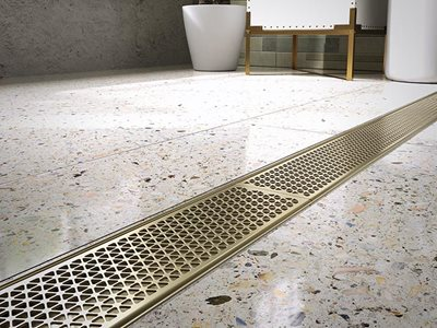 Bathroom interior with Stormtech linear drainage grate