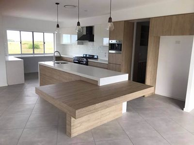 residential kitchen island white benchtop