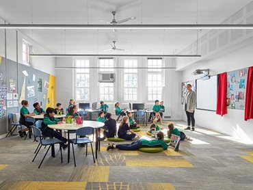 Various colours have been used in different learning spaces