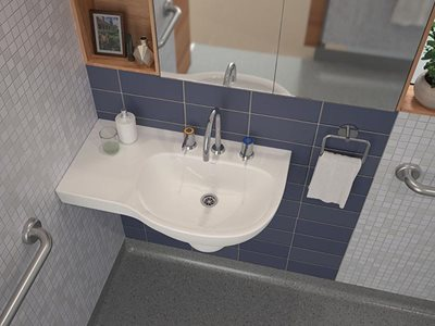 Caroma Care Collection aged care bathroom product image aerial view