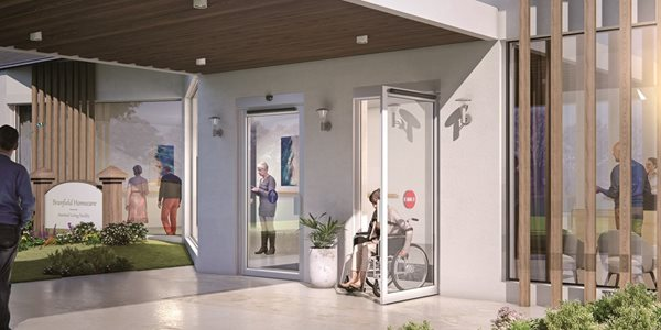 Elderly home exterior entrance with swing door system