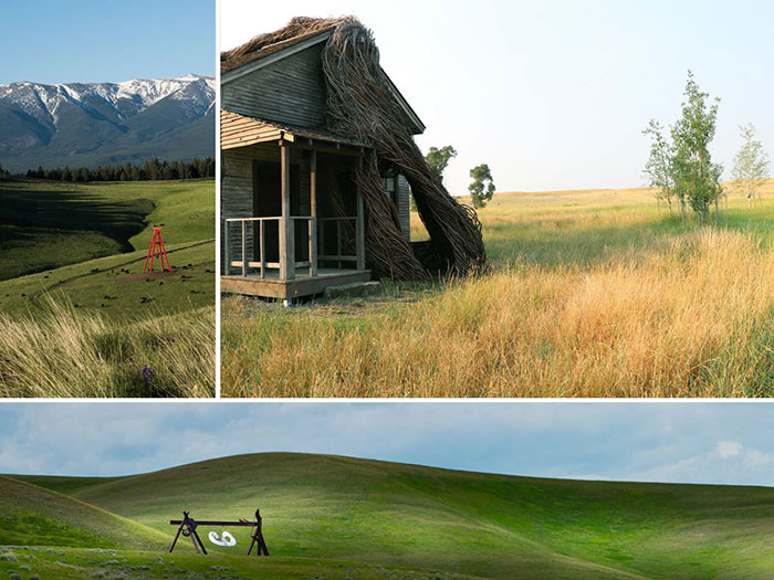 Collage of outdoor rural images of Tippet Rise Art Center
