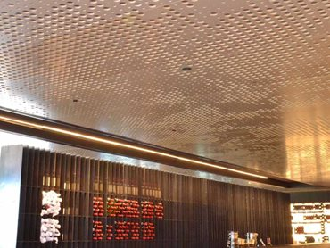 Key-Lena custom perforated panels were supplied to create a distinctive ceiling