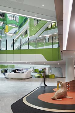 Perth Children's Hospital atrium space featuring Corian reception desk