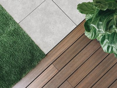 Detailed product image of outdoor turf tiles and decking
