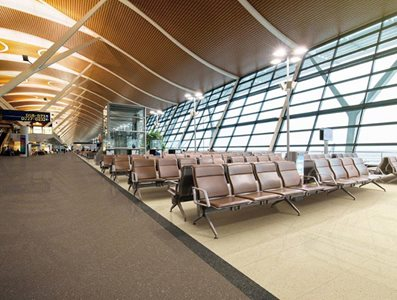 Commercial porcelain tiles in airport lounge