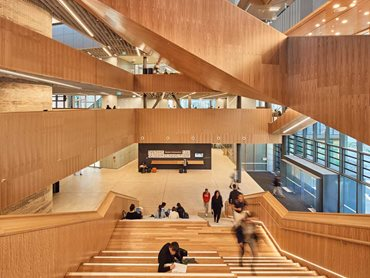 The hoop pine plywood was specified for the building's internal finishes