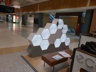 Staron solid surfaces were used to custom fabricate retail display cabinets for ECCO