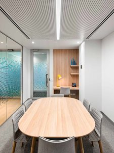 Office interior with ceiling lining system