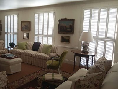 Living room interior with french louvre doors