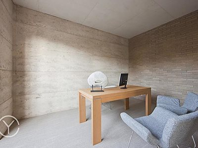 Office interior with white decorative brick cladding