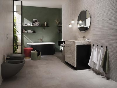 RocksOn Boost Tarmac Grey Concrete Look Tiles Bathroom Interior