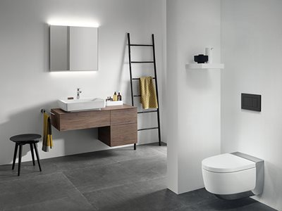 Tone-in-Tone Products in Modern Residential Bathroom Interior