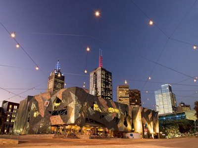 Federation Square catenary cable lighting