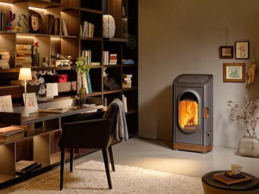 Home office interior with wood fire heater
