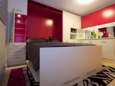 Double Fold down wall bed with pink back panel close up