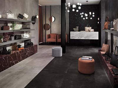 RocksOn Boost Grey Concrete Look Tiles Retail Interior