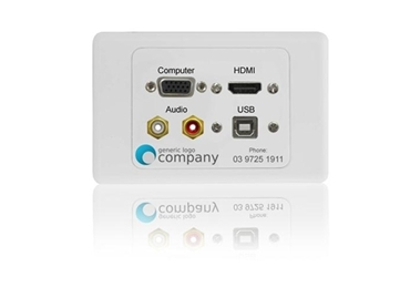 Dueltek's Audio Visual Wall Plates can be Custom printed with Company and School Logos.