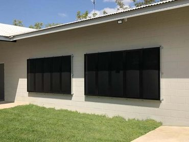 Alspec's Invisi-Maxx stainless steel security screens have been installed to the windows and doors of the shelter.
