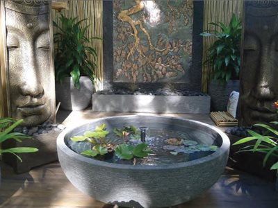 Outdoor water feature with small pond