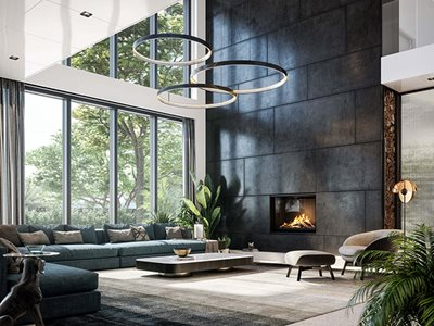 Modern Residential Interior Large Glass Facade and Fireplace