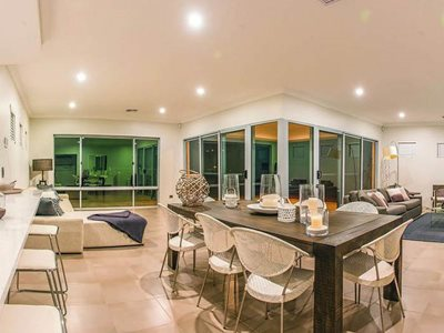 residential interior living dining area sliding doors windows