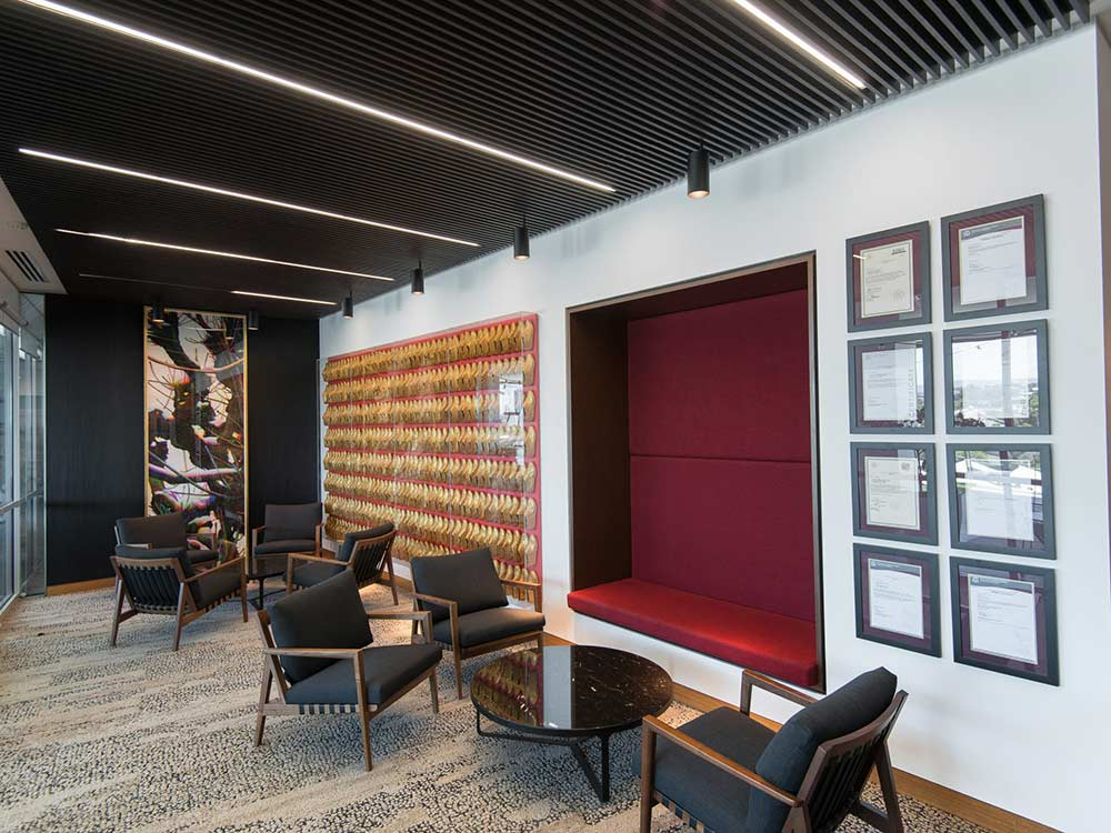 Waiting area with acoustic ceiling slats