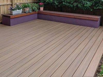 CleverDeck Solid Composite Decking on Outdoor Porch