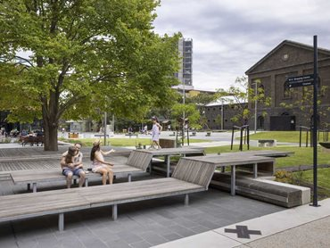 Hand-carved bluestone blocks have been reused to create seating in the Piazza