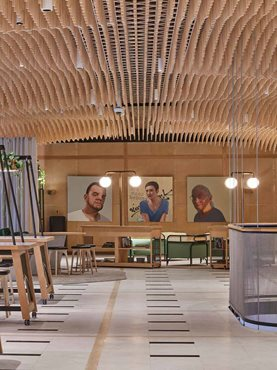Keystone Lining Pine Dowl Ceiling System for Retail Interior Portrait View